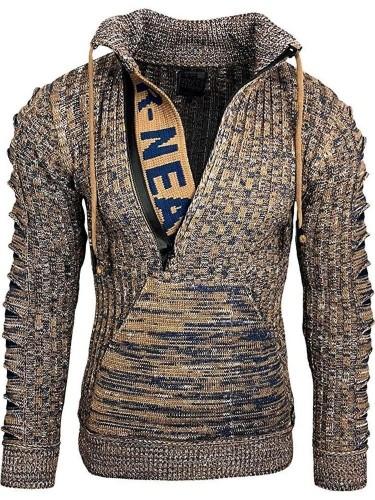 Zipper Stand Collar Standard Slim Casual Sweater