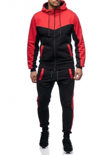 Men Casual Sets Solid Splice Jogger Tracksuit