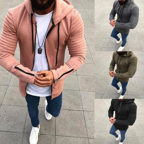 Men's Hoodies Solid Pullovers Slim Hooded Sweatshirts