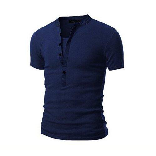 Neckline stitching slim-fit short-sleeved t-shirt