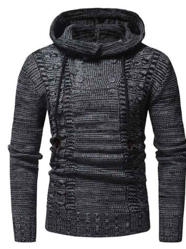 Yarn Dyed Standard Hooded Wrapped Slim Sweater