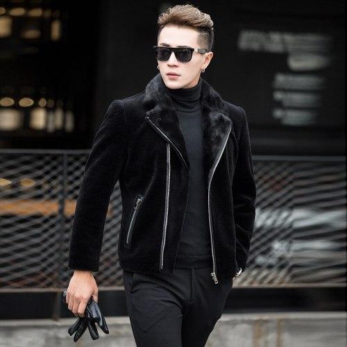 Men's Sheep Shearling Fur Collar Coat(Free Shipping)