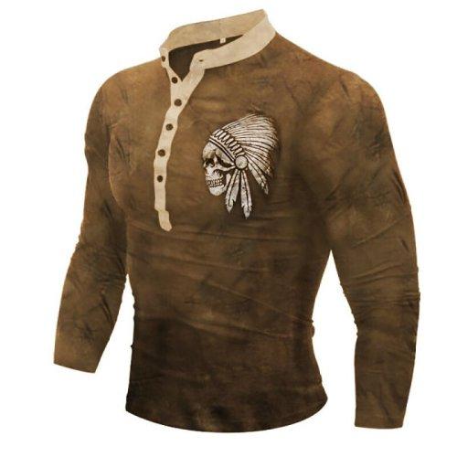 Skull print men's comfortable long-sleeved t-shirt