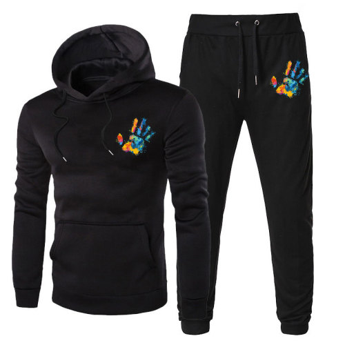 Men's pullover hooded sweater nine-point pants casual two-piece suit