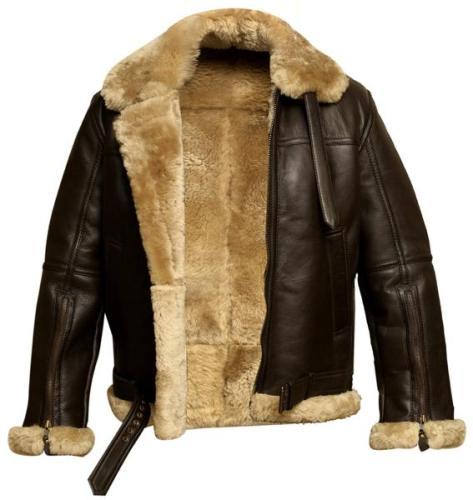 Men's Aviator Bomber Real Wool Sheepskin Leather Jacket