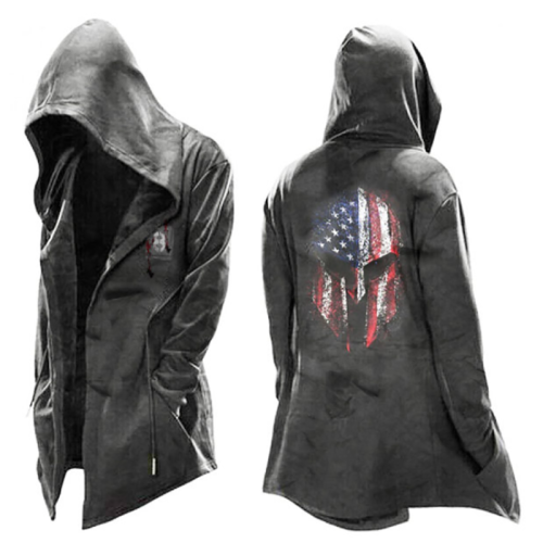 Men's digital flag print hooded jacket
