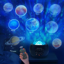 9 Planet Star Projector Night Light, 3 in 1 LED Ocean Wave Galaxy Starry Night Light , Remote Control /Bluetooth Music Player for Kids Baby