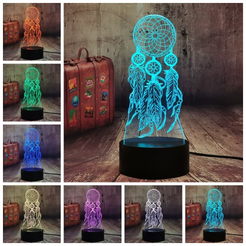 Creative Valentine Wind Chimes Table Lamp Switch Dream Catcher 3D LED Touch Illusion Night Light Bedroom Party Desk Decor Lamp Girls Xmas Present (Dreamcatcher)