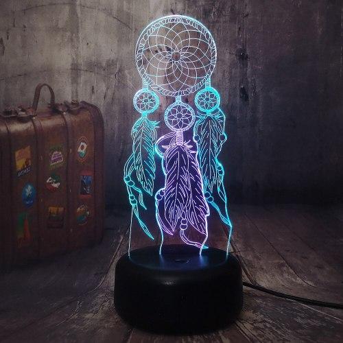 Romantic Wind Chimes Dreamcatcher 3D LED Night Light Mixed Dual 7 Color Sleep Desk Lamp Home Decor Lover Birthday Christmas Lamp