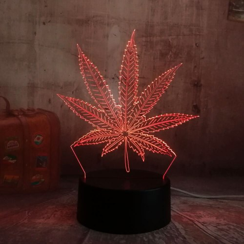 Beautiful Weed Hemp Leaf 3D LED Lamp House Decoration Sleep Night Light Lamp Desk Table Holiday Toy Flash Party Decor Lava