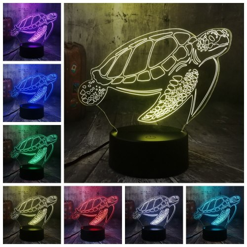 Ocean Animal Swimming Tortoise Chelonia mydas Sea Turtle 3D LED Night Light Desk Lamp Party Home Decor Kid Toy Christmas Lamp