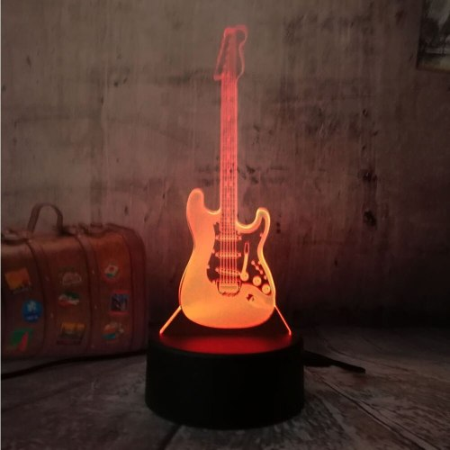 Electric Music Bass Chiristmas toys 3D LED Model Night Light Desk Table Lamp 7 Color Change Gradient Baby Child Kid Skeep