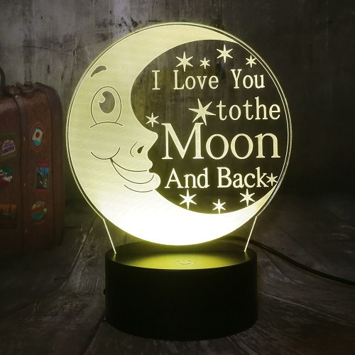 I Love You To The Moon and Back 3D LED Night Light 7 Color Desk Lamp Kid lamp Home Decor Romantic Valentine's Day Girlfriend