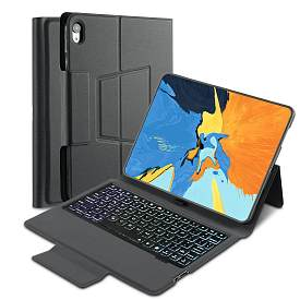iEGrow Keyboard Case for iPad Pro 11 2018[Only], Wireless Keyboard Folio Stand Cover with Pencil Holder-Black
