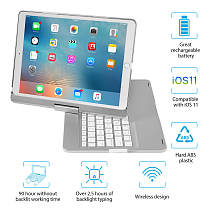 IEgrow Ipad Pro 10.5 Keyboard Case, 2017/2019 iPad Air 10.5(3Rd Gen) 7 Colors Backlight 360 Rotatable 180 Flip Wireless/Bluetooth Swivel Keyboard Cover, with Smart Auto Wake and Sleep