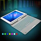 iPad 9.7 Inches Keyboard Case, iEGrow F180 7 Colors Adjustment Backlit and Wireless Keyboard with Ultrathin, Aluminium, 360°Rotatable Hard Cover for 2017 New iPad 9.7, iPad Prob,iPad Air2,iPad Air