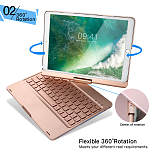 iEGrow F360 iPad Pro 10.5 Keyboard Case, 7 Colors Adjustment Backlit and Breathing Light Keyboard with Ultrathin,Aluminum, 360 Degree Rotatable Cover for 2017 iPad Model A1701/A1709,Rose Gold