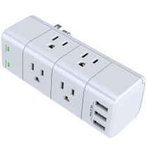 Power Strip with 6 Outlet Extender (3 Side) and 3 USB Ports, 1680 Joules, for Home/School/Office/Travel, White