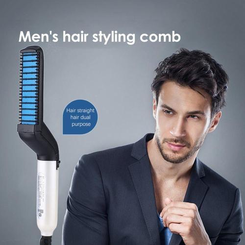 Multifunctional Hair Comb Brush Beard Straightener Quick Hair Styler for Men