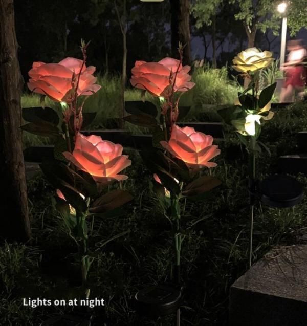 LAST DAY 50% OFF - SPRING ARTIFICIAL ROSE SOLAR GARDEN STAKE LIGHTS
