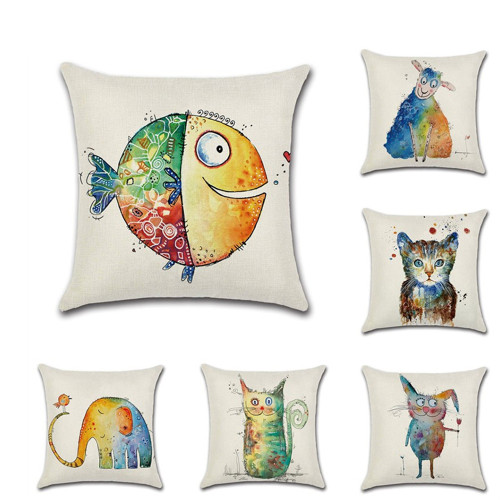 Human With Animal Cushion Cover Off White Satin Square Bedding Throw Pillow Case