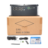 Fanless industrial mini pc Intel i7 7920HQ 4 Intel Lan port support POE 9-36V Wide Voltage HDMI VGA DP 3display with GPIO