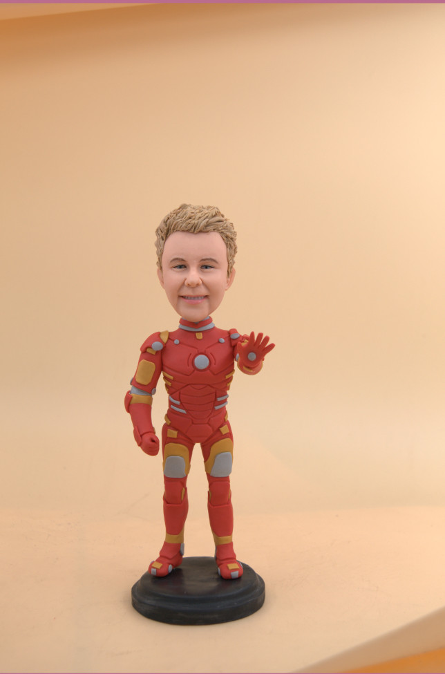 Custom Superhero Couple Bobbleheads, Custom Superman:Iron Man
