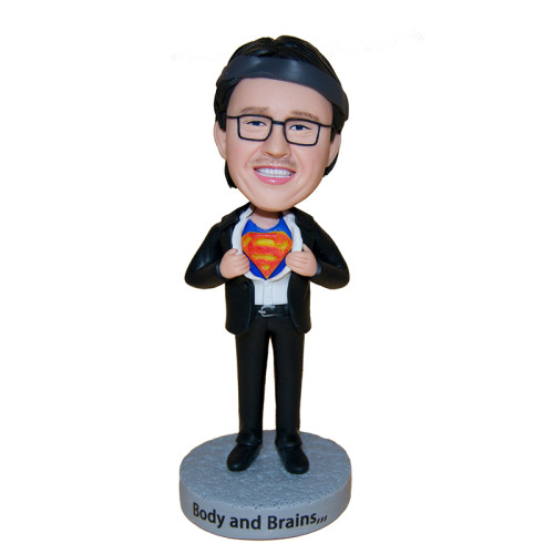 Custom bobblehead:A business man with a dream of being a superman