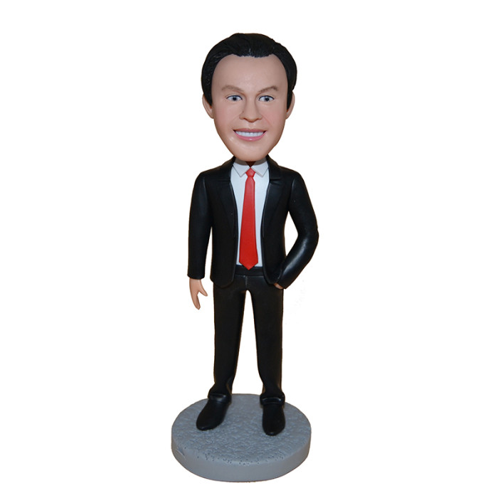 Custom bobblehead:A business man with red tie