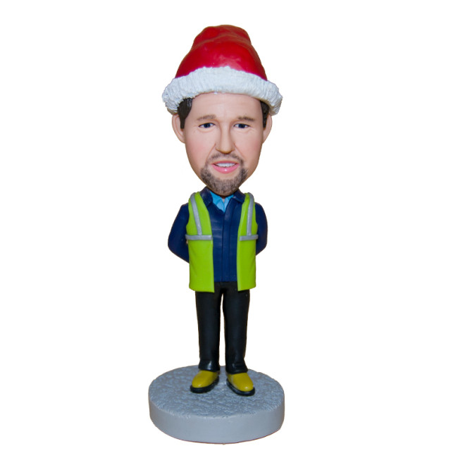 Custom bobblehead:A traffic police wearing a Christmas hat