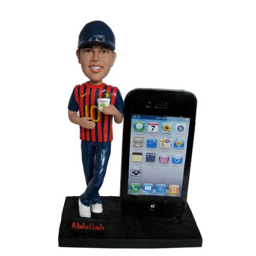 Custom bobblehead:Baseball Player leaning on a huge phone