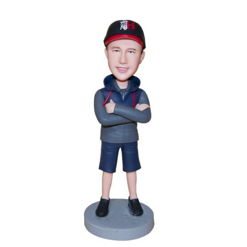 Custom bobbleheads:A man wearing baseball cap
