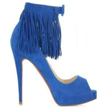 Christian Louboutin Short Tina Fringe 120mm Special Occasion Blue