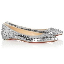Christian Louboutin Pigalle Spiked Ballerinas Silver