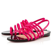 Christian Louboutin Vildo Flat Sandals Rose Matador/Black