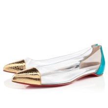 Christian Louboutin Corbeau Flat Sandals Gold/Caraibes