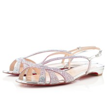 Christian Louboutin Lady strass Flat Sandals Silver