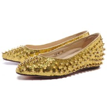 Christian Louboutin Pigalle Spiked Ballerinas Gold