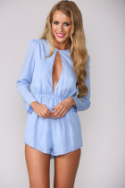 Blue Cut out Romper with Long Sleeves