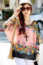 Womens Bat Sleeve Chiffon Blouse Top