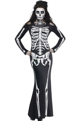 Long Skeleton Dress Adult Halloween Costume