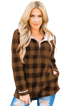 Brown Plaid Fleece Pullover Sweatshirt