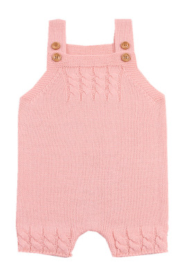 Pink Cable Knit Detail Baby Overall