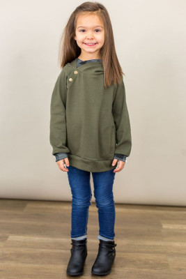 Green Toddlers Double Hooded Sweatshirt