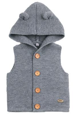 Grey Cute Ears Hooded Toddler Sweaters Vest