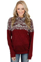 TOUCH OF CHRISTMAS REINDEER COWL NECK TOP BURGUNDY