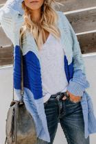 Sky Blue Colorblock Knit Cardigan