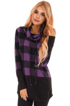 Purple Gray Plaid Cowl Neck Sweatshirt