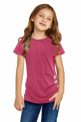 Rose Side Button Detail Short Sleeve T Shirt for Little Girls