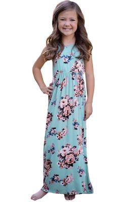 Light Blue Floral Print Sleeveless Little Girl Maxi Dress